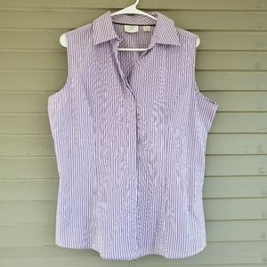 Riders by Lee Sleeveless Button Up Shirt Large